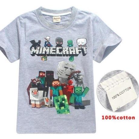 マインクラフト Minecraft  子供服  プリントTシャツ ユニセックス カジュアル半袖Tシャツ トップス  マイクラ グレイ
