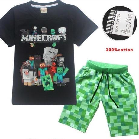 マインクラフト Minecraft  子供服  半袖パジャマ上下  ユニセックス  カジュアル半袖Tシャツ トップス  マイクラ   ブラック