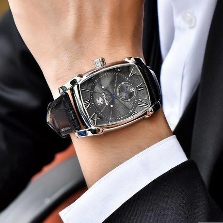 6c99cfed8e ... benyar 高級 腕時計 クラシック スクエア ファッション メンズ 腕時計 ...