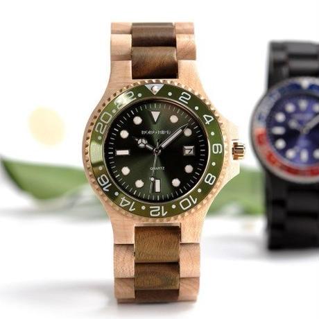 ボボバード【BOBO BIRD】木製腕時計 クォーツ式 木の温もり 自然に優しい天然木   サブマリーナ風  ドレスウォッチ
