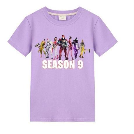 フォートナイト fortnite 子供服  シーズン9 プリントTシャツ ユニセックス カジュアル半袖Tシャツ トップス   パープル