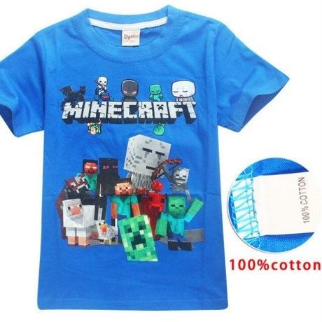 マインクラフト Minecraft  子供服  プリントTシャツ ユニセックス カジュアル半袖Tシャツ トップス  マイクラ ブルー