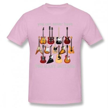 ギター名器 集合 Tシャツ ギタリスト  レスポール フライングV GS レスポール ファイヤーバード  ストラト ユニセックス 男女兼用  ピンク