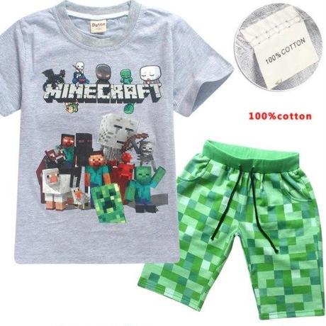 マインクラフト Minecraft  子供服  半袖パジャマ上下  ユニセックス  カジュアル半袖Tシャツ トップス  マイクラ   グレイ
