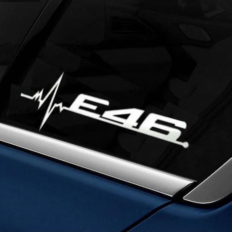 BMW ステッカー 2個入 Mパワー パフォーマンス E28 E30 E34 E36 E39 E46 E60 E61 E90 E91 E92 ロゴ 窓 h00212