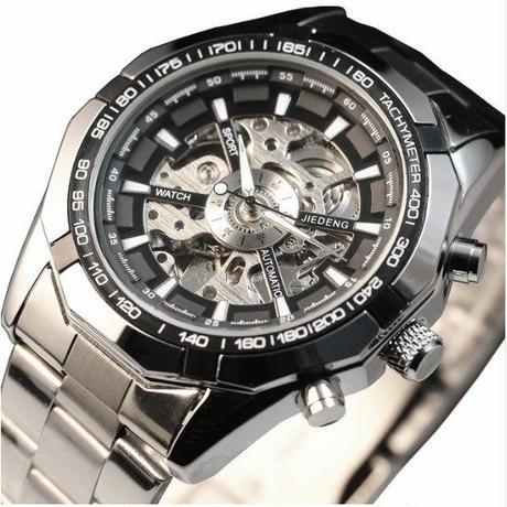 JIEDENG 高級 スケルトン メンズ腕時計 自動機械式腕時計 海外トップブランド