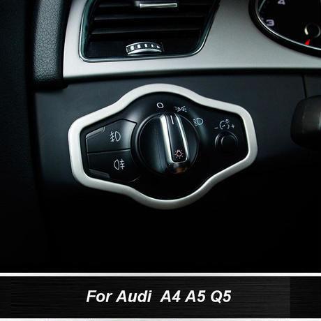 アウディ ヘッドライトスイッチカバー ステンレス A4 A5 Q5 h00323