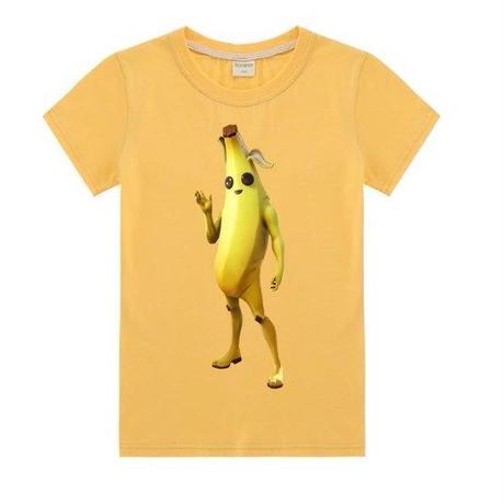 フォートナイト fortnite 子供服  バナナスキン ピーリーTシャツ ユニセックス カジュアル半袖Tシャツ トップス 10色展開 バトルロワイヤル   イエロー