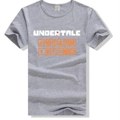 ゲームグッズ アンダーテール Undertale   ロゴTシャツ  ユニセックス グレー
