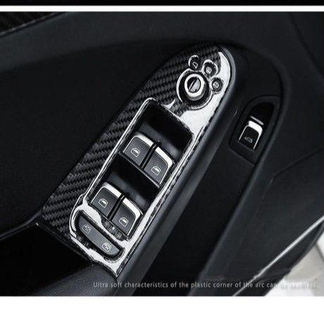 アウディ ウィンドウリフト スイッチ カバー 4個入 リアルカーボンファイバー Audi A4 h00295