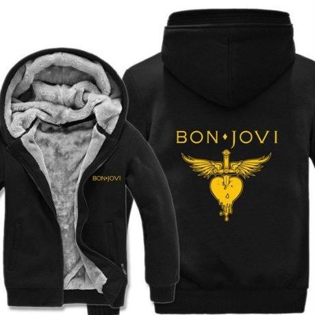 高品質  ボンジョビ Bon Jovi   あったかい フリースパーカー ジップアップ  衣装 コスチューム 小道具 海外限定  コスプレ  8