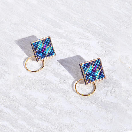 RITUAL the crafts | Square Hoop I earring | midnight blue