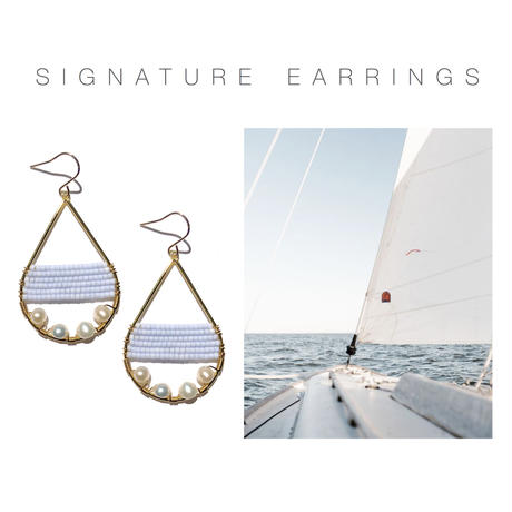 Kui Co.| Signature Earrings with 淡水パール(水色)