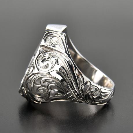 FUNNY Hand Engraved Horseshoe Ring men's #22