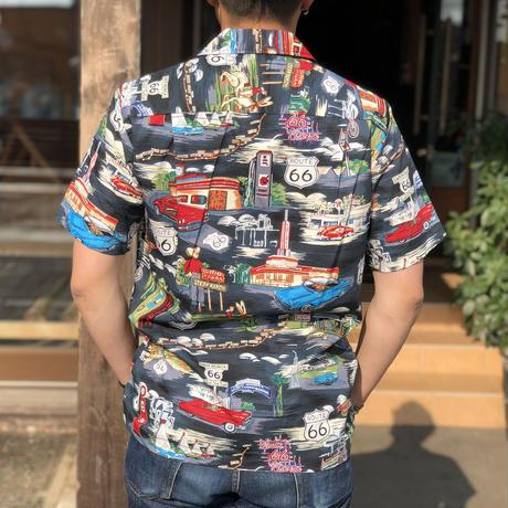Pacific Legend メンズ アロハシャツ [ルート66/ブラック/コットン]