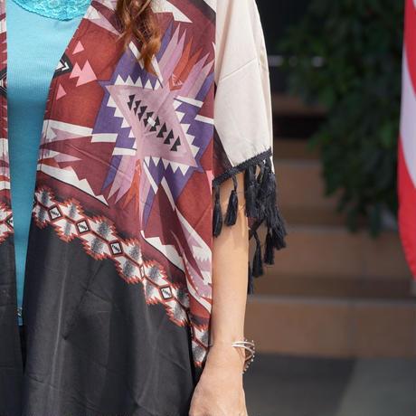 Wrangler ladies Aztec Print with Tassels Kimono(ベージュ)