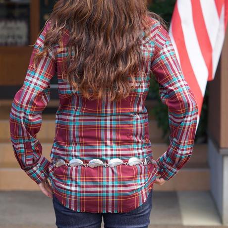 Wrangler ladies L/S western shirt(エンジ)
