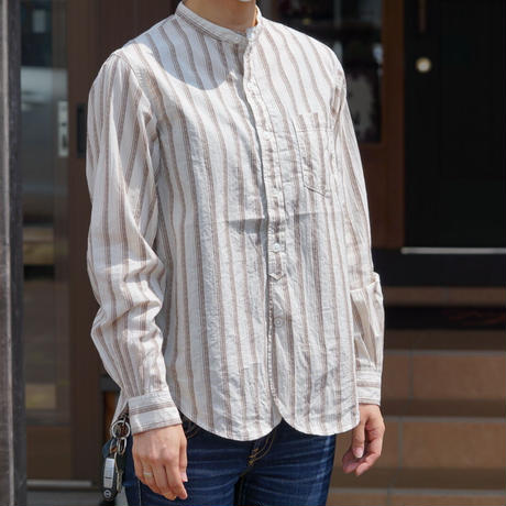 Cushman Dobby stripe band collar L/S shirt(クリーム)