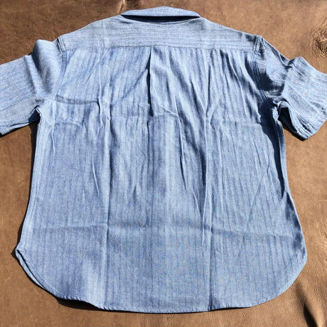 Ann Knows S/S Patchwork chambray shirts サイズXL(ブルー)