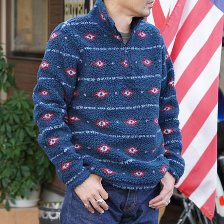 Wrangler Men's 1/4 Zip Sherpa Pullover(ネイビー)