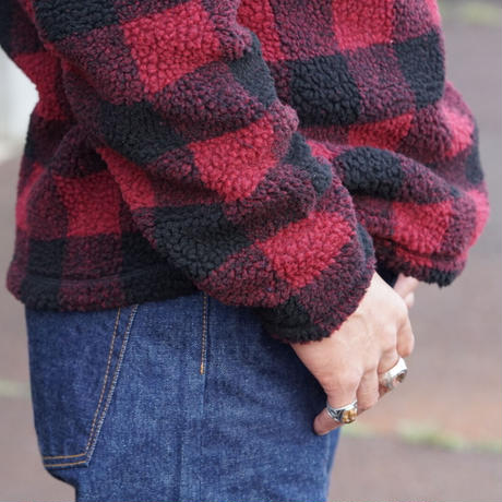 Wrangler Men's 1/4 Zip Sherpa Pullover(レッド×ブラック)