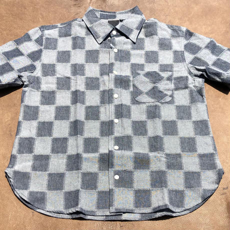 Ann Knows S/S Patchwork chambray shirts size M
