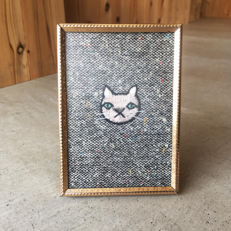 "LITTLE CALIFORNIA | ""TIGER"" Vintage Framed Cat Embroidery"