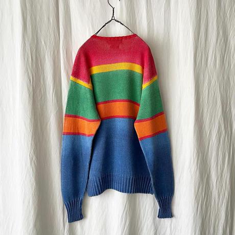 "80-90′s "" Polo Ralph Lauren "" Gradation Printed Border Cotton Knit"