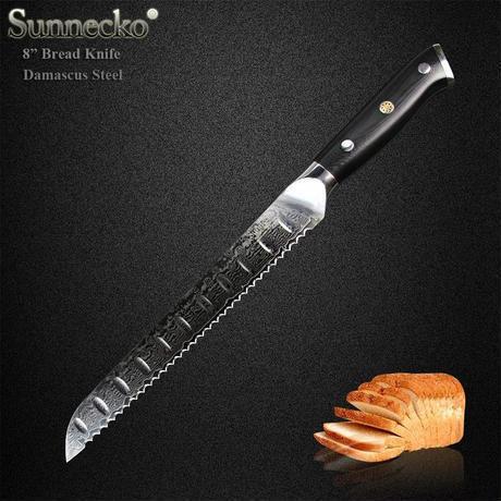 Sunnecko 8 インチ パンスライシングナイフ Japanese VG10 ダマスカス キッチンナイフ 朝食ブレッドスライサー