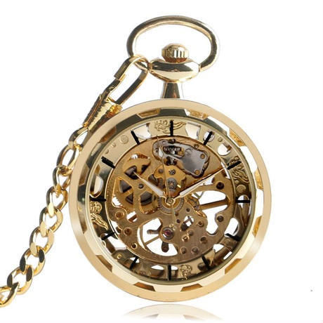 ヴィンテージ ウォッチネックレス スケルトン ペンダント 手巻き ギフトにも最適 懐中時計