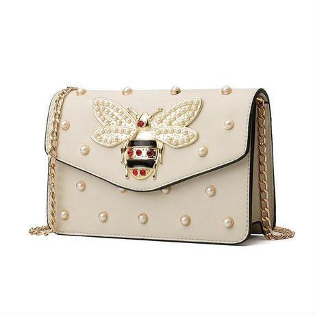 2タイプ ラインストーン 大きな蜂モチーフ puレザーショルダーバッグ チェーン付き レディースバッグ