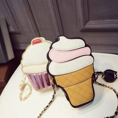 Yogodlns 個性的 ソフトクリーム カップケーキ ショルダーバッグ