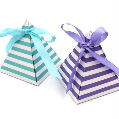 新品送料込 ギフトボックス 20個セット 三角型 ストライプ リボン付 バレンタイン お誕生日会 結婚式 ラッピング プレゼント
