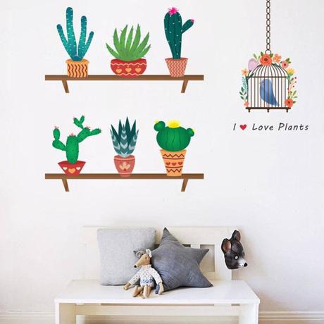 ウォールステッカー サボテン 花 植物 自然 緑 棚 お洒落シール DIY デコ キッチン 寝室 リビング トイレ 子供部屋