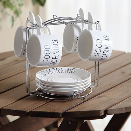 新品送料込 ティーカップ 200ml ソーサー スプーン シンプル 4カップ&ホルダー 磁器 コーヒー お茶会に おしゃれ食器 高級装飾 贈り物
