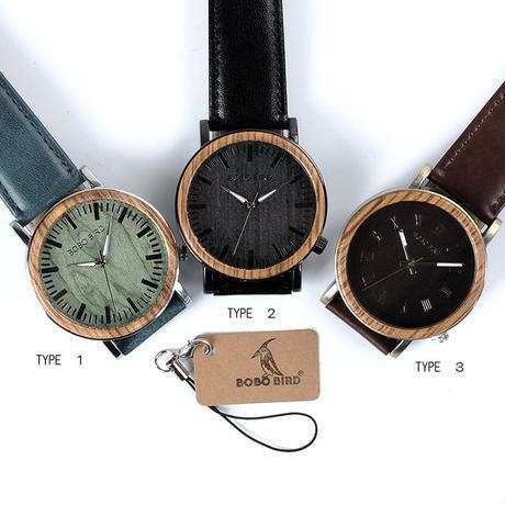 【BOBO BIRD】3色展開 木製腕時計 クォーツ式 木の温もり 自然に優しい天然木 スタイリッシュデザイン
