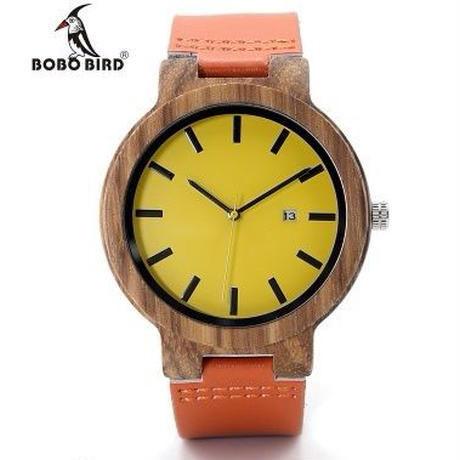 BOBO BIRD シンプル 木製腕時計 クォーツ 黄色が映えるデザイン 本革ストラップ