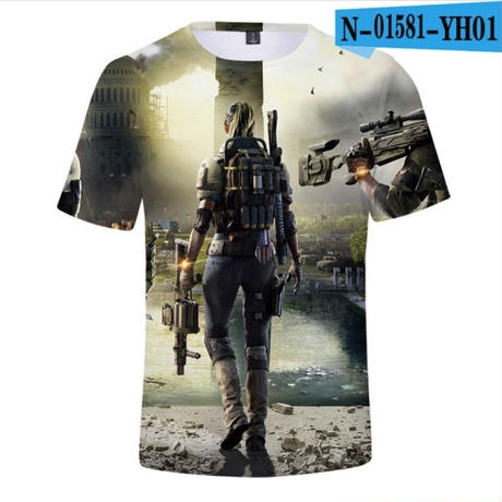 ディビジョン2 3Dデザイン Tシャツ 半袖 ユニセックス ゲームグッズ Dvision2
