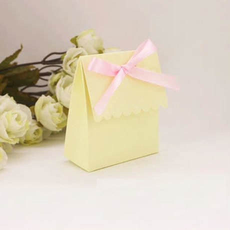 新品送料込 ギフトボックス 100個セット 黄 おしゃれ紙箱 リボン付 バレンタイン お誕生日会 結婚式 ラッピング プレゼント