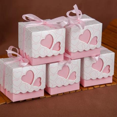 新品送料込 ギフトボックス 50個セット ハート ピンク リボン付 バレンタイン お誕生日会 結婚式 ラッピング プレゼント