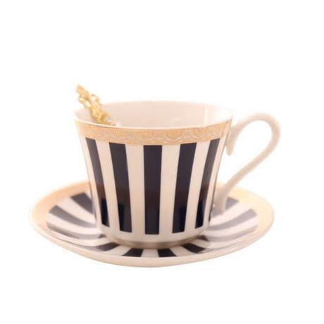 新品送料込 ティーカップ 225ml ソーサー スプーン ストライプ 3点セット 磁器 コーヒー お茶会に 食器 高級装飾 贈り物