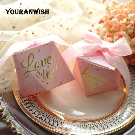 新品送料込 ギフトボックス 50個セット ダイヤモンド形 リボン付 バレンタイン お誕生日会 結婚式 ラッピング プレゼント