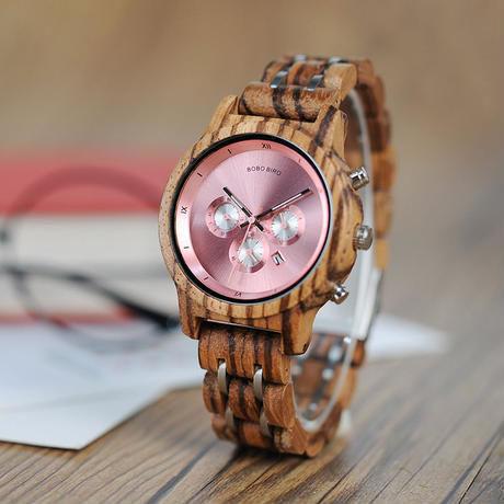 【BOBO BIRD】 3色展開 木製腕時計 レディース 女性 クロノグラフ 高級ウッドメタルストラップ 【自然に優しい天然木】