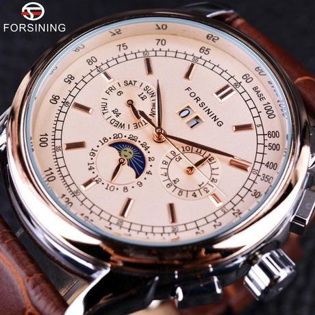 FORSINING 5カラー展開 ムーンフェイス 本革ストラップ 機械式自動巻き 高級腕時計