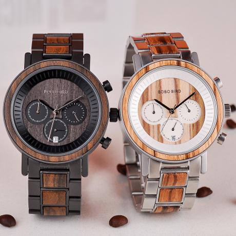 BOBO BIRD 日付表示 ボボバード 金属+木製バンド クォーツ 木製腕時計 ユニセックス レディース メンズ 海外高級ブランド ギフトボックス付き