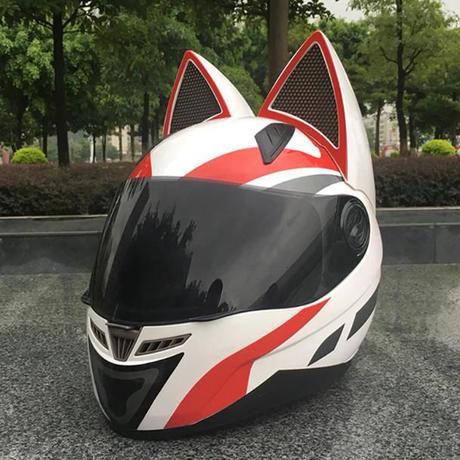猫耳 フルフェイスヘルメット カラーサイズ選べますシールドカラー選べる4色 レトロ 昭和 走り屋