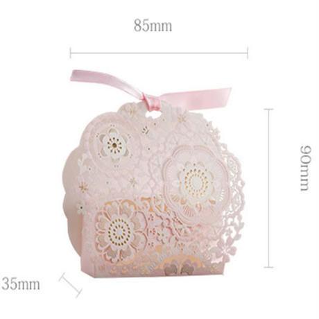 新品送料込 ギフトボックス 50個セット 花柄 ピンク リボン付 バレンタイン お誕生日会 結婚式 ラッピング プレゼント