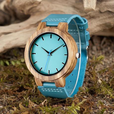 BOBO BIRD シンプル 木製腕時計 クォーツ 木の温もり 自然に優しい天然木 スタイリッシュ ターコイズブルー