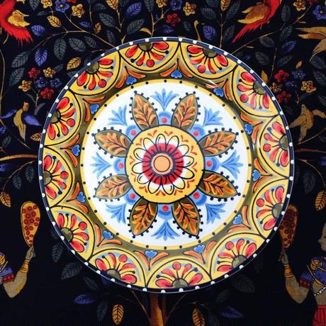 新品送料込 皿 セラミック 食器 花葉 イエローオレンジ メキシコ農村スタイル 高級 おしゃれ