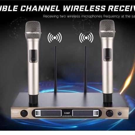 UHF ワイヤレスマイク 720-770 mhz デュアル チャンネル 2マイク プロフェッショナル ステージ カラオケ